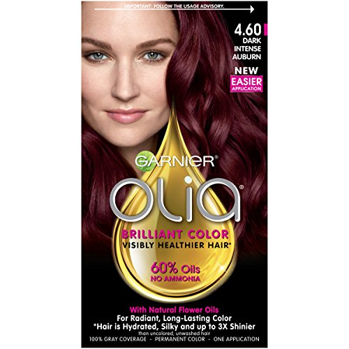 Garnier Olia Hair Color, 4.60 Dark Intense Auburn, Ammonia Free Red Hair Dye review