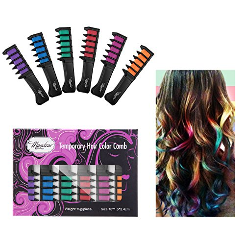 Maydear Temporary Hair Chalk Comb-Non Toxic Washable Hair Color Comb for Hair Dye-Safe for Kids for Party Cosplay DIY